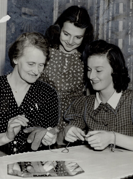 These women work at war plants during the day and knit at night.